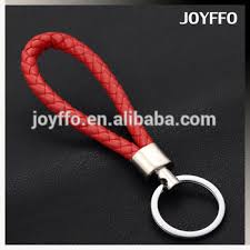 red key rings images Men 39 s red braided leather key chain ring keyfob strap weave rope jpg
