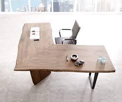 Schreibtisch Schmal Holz Schreibtisch Live Edge 180x180 Akazie Braun Gestell Schwarz