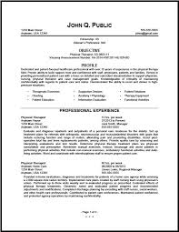 Sample Resume Government Jobs by Sample Physical Therapy Resume Free Resumes Tips