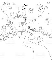 halloween party haunted house outline stock vector art 165668933