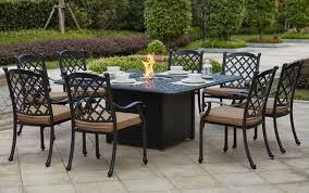 Propane Fire Pit Patio Sets Patio Furniture Dining Set Cast Aluminum 64