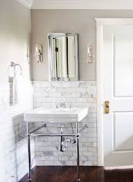 very clean and love the white subway tiles with dark wood floors
