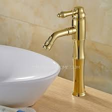antique polished brass tall vessel mount bathroom sink faucet