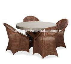 Wicker Armchair Outdoor Concrete Top Wooden Round Table 5 Pieces Wicker Chairs Outdoor