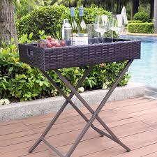 crosley furniture palm harbor outdoor wicker butler tray walmart com