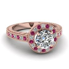 old fashion rings images Round diamond halo vintage engagement ring with pink sapphire in jpg