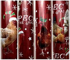 large rolls of christmas wrapping paper peck the halls farm chicken with christmas hat