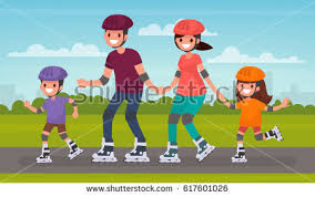 happy family skating on roller skates stock vector 617601026