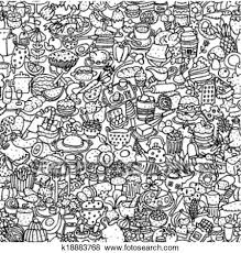 seamless pattern food clip art of food seamless pattern in black and white k18883768