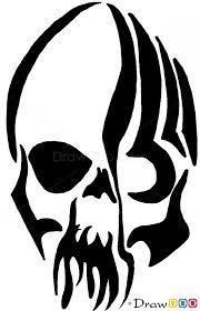 how to draw skull tribal tattoos