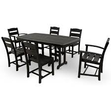 Outdoor Dining Bench Ivy Terrace Classics Black 7 Piece Patio Dining Set Ivs108 1 Bl