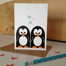 mr and mrs penguin wedding and valentines card by halfpinthome