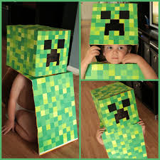 minecraft costumes kids had to cut off the side because there