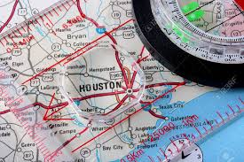map of usa with compass usa map with the city of houston and a compass with magnifying
