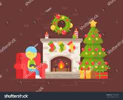 festive cozy card christmas tree fireplace stock vector 519282769