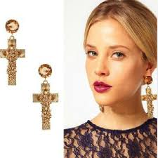 big ear rings big golden cross rivets exaggerated big earrings