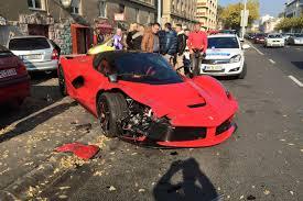 updated laferrari crash driver loses control in budapest hits 3