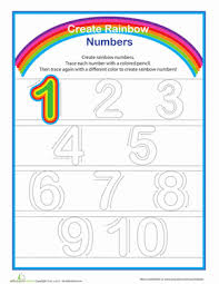 rainbow numbers practice writing numbers 1 10 worksheet