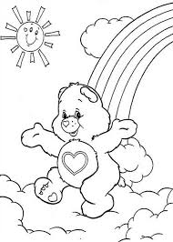 happy care bear dancing rainbow coloring
