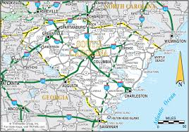 map of and south carolina south carolina map