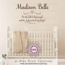 baby nursery decor prayed personalized baby name decals for