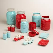 Red Kitchen Canister by Love These Ceramic Mason Jar Kitchen Accessories