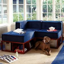 Navy Sectional Sofa Cushy Lounge Sectional Set Pbteen