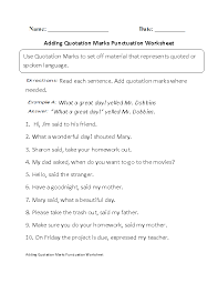 Quotation Marks Worksheet Punctuation Worksheets Adding Quotation Marks Worksheet