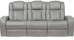 Leather Power Reclining Sofa 1 499 99 Servillo Platinum Grayish White Leather Power