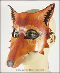 wolf masquerade mask autumn wolf mask handmade leather masquerade costume brown dog