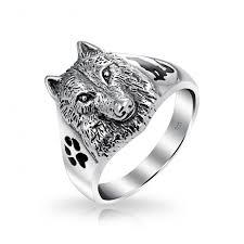 buy steel rings images Sterling wolf head black animal paw print howling silhouette ring jpg