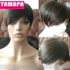 short hairstyle wigs for black women tamapa human short pixie wigs black brazilian bob none lace wig