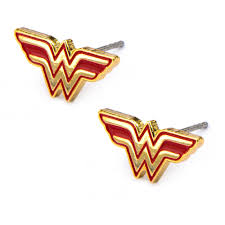 Wonder Woman Accessories Body Art Stainless Steel Red And Wonder Woman Logo Stud Earrings