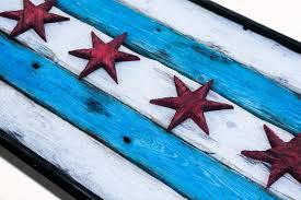 handmade distressed wooden chicago flag vintage art distressed