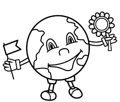 cute earth with flower and flag coloring pages for kids cxc