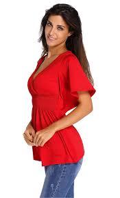 elastic waist blouse v neck batwing sleeve high elastic waist blouse stella dolls