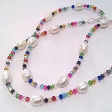 coloured crystal necklace images Baroque pearls on a multi coloured crystal necklace jpg