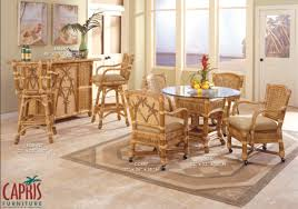Dining Room Chairs With Casters by Capris Furniture Model 667 Palm Island Caster Dining Room Set