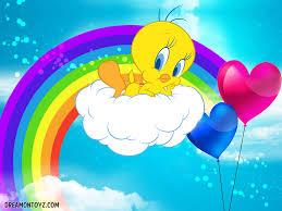 rainbow tweety bird love balloons kid art tweety