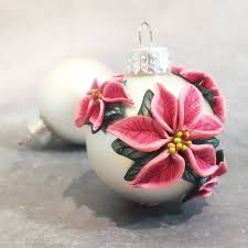poinsettia ornaments polymer clay ornaments series 2016
