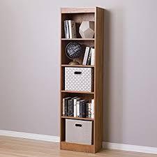 amazon com alera narrow profile bookcase finished back wood