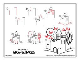 how to draw a haunted house google search halloween