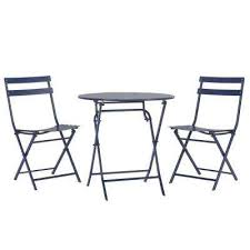 Navy Bistro Chairs Blue Bistro Sets Patio Dining Furniture The Home Depot