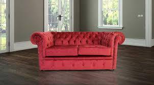 buy red velvet chesterfield sofa uk at designersofas4u