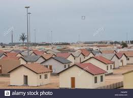 low cost housing outside walvis bay stock photo royalty free