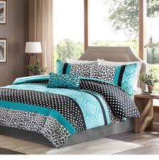 com girls bedding set kids teen duvet cover turquoise black white leopard and damask print with polka dots stripes and accent pillow