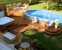 tiered composite wooden pool deck for above ground pool with