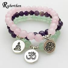rose crystal bracelet images Ruberthen new design yoga bracelet natural stone green aventurine jpg