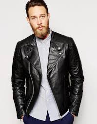 leather biker jacket asos leather biker jacket with zip cuff in black in black for men