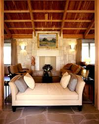 baroque setee in living room mediterranean with wood and stone